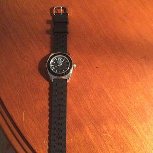 Coach black rubber band watch
